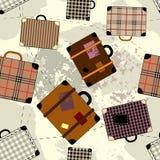 Teste padrão dos desenhos animados da mala de viagem ilustração do vetor
