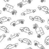 Teste padrão dos doodles dos carros do vintage Imagem de Stock