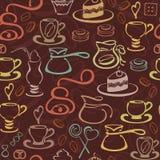 Teste padrão dos eklements do café Foto de Stock Royalty Free