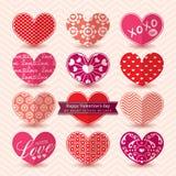 Teste padrão dos elementos do coração do dia de Valentim Foto de Stock