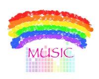 Teste padrão dos elementos do fundo da música do arco-íris, cartaz abstrato do negócio da qualidade super ilustração do vetor