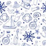 Teste padrão dos elementos do mar Fundo sem emenda marinho ilustração stock