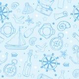 Teste padrão dos elementos do mar Fundo sem emenda marinho ilustração do vetor