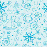 Teste padrão dos elementos do mar Fundo sem emenda marinho ilustração royalty free