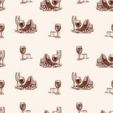 Teste padrão dos esboços de vidros de vinho com queijo e uva ilustração stock
