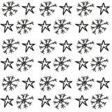 Teste padrão dos flocos de neve e de estrelas Imagens de Stock