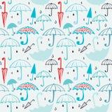 Teste padrão dos guarda-chuvas e das gotas 2 Imagem de Stock