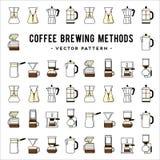 Teste padrão dos métodos da fabricação de cerveja do café Maneiras diferentes de Fotografia de Stock Royalty Free