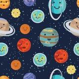 Teste padrão dos planetas do sistema solar Planeta de sorriso bonito brilhante Ilustração do vetor ilustração royalty free