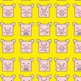 Teste padrão dos porcos de Emoji fotografia de stock