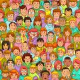 Teste padrão dos povos dos desenhos animados Fotos de Stock