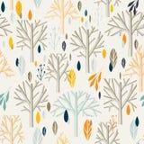 Teste padrão dos ramos das folhas no estilo retro Fotos de Stock Royalty Free