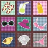 Teste padrão dos retalhos com objetos da praia Fotos de Stock