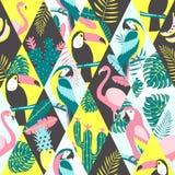 Teste padrão dos retalhos com pássaros tropicais Imagem de Stock Royalty Free