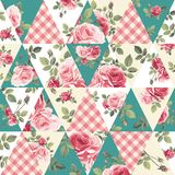 Teste padrão dos retalhos com rosas Foto de Stock