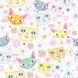 Teste padrão dos retratos dos gatos Imagem de Stock Royalty Free