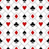 Teste padrão dos símbolos do terno do cartão Fotografia de Stock Royalty Free