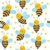 Teste padrão dos seamles da abelha Abelhas bonitos do voo para o produto do mel Fundo infinito da casa de abelha do vetor ilustração royalty free