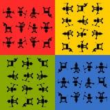 Teste padrão dos silhouetts dos robôs de Tileable Imagens de Stock Royalty Free