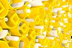 Teste padrão dos tubos coloridos, elementos quadrados repetidos, hexago branco ilustração do vetor