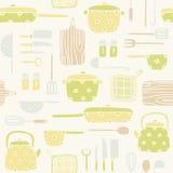 Teste padrão dos utensílios da cozinha Fotografia de Stock