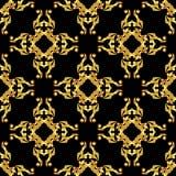 Teste padrão dourado asiático no preto ilustração royalty free