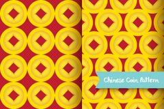 Teste padrão dourado chinês da moeda Fotografia de Stock