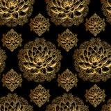 Teste padrão dourado dos lótus Imagem de Stock