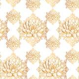 Teste padrão dourado dos lótus Imagens de Stock Royalty Free