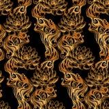Teste padrão dourado dos lótus Fotos de Stock