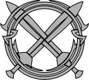 Teste padrão e espadas cruzadas Fotografia de Stock Royalty Free