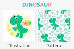 Teste padrão e ilustração sem emenda do vetor do dinossauro Imagem de Stock
