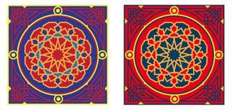 Teste padrão egípcio 3-Red da tela da barraca & azul Foto de Stock Royalty Free