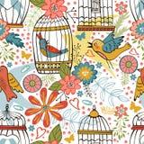 Teste padrão elegante com flores, gaiolas de pássaro e pássaros Imagens de Stock