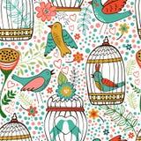 Teste padrão elegante com flores, gaiolas de pássaro e pássaros Imagens de Stock Royalty Free