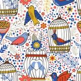 Teste padrão elegante com flores, gaiolas de pássaro e pássaros Imagem de Stock Royalty Free
