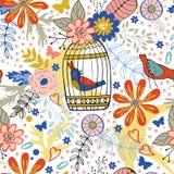 Teste padrão elegante com flores, gaiolas de pássaro e pássaros Foto de Stock