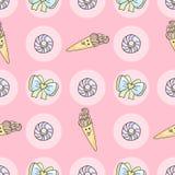 Teste padrão engraçado da garatuja dos desenhos animados dos doces com gelado, filhós Imagem de Stock
