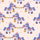 Teste padrão engraçado do circo com cavalos Foto de Stock Royalty Free