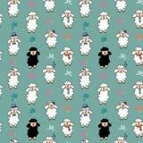 Teste padrão engraçado do fundo dos carneiros do vetor sem emenda com flor Carneiros com acessórios diferentes ilustração stock