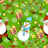 Teste padrão engraçado dos desenhos animados do Natal com Santa Claus Fotografia de Stock