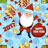 Teste padrão engraçado dos desenhos animados do Natal com Santa Claus, um presente, um sino, floco de neve Imagens de Stock Royalty Free