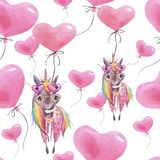 Teste padrão engraçado sem emenda da aquarela para o dia de Valentim com unicórnios e balões Papel de parede do ` s das crianças ilustração royalty free