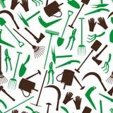 Teste padrão eps10 da cor das ferramentas de jardinagem Fotografia de Stock Royalty Free