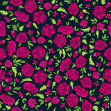 Teste padrão escuro com flores abstratas Imagem de Stock Royalty Free