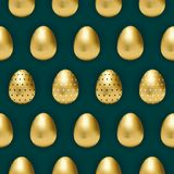 Teste padrão escuro da cerceta com ovos dourados ilustração stock