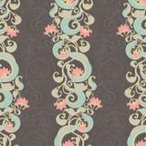 Teste padrão escuro floral vertical Fotos de Stock