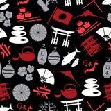 Teste padrão escuro sem emenda eps10 dos ícones japoneses da cor Foto de Stock Royalty Free