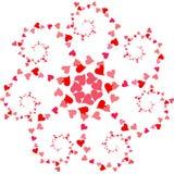 Teste padrão espiral circular dos corações Fotos de Stock Royalty Free