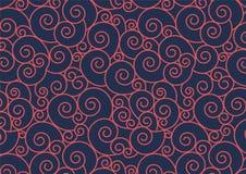 Teste padrão espiral vermelho no fundo azul Imagens de Stock Royalty Free